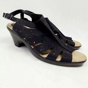 Easy Street Black Comfort Wave Short Heel Sandals